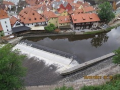 the old town is surrounded by a river or moat
