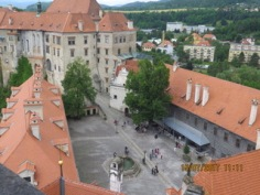 looking down into the castle courtyard