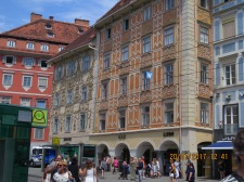beautiful buildings in Graz, thats Swarovski main store on the left