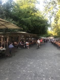 The promenade along the river , Ljubljana