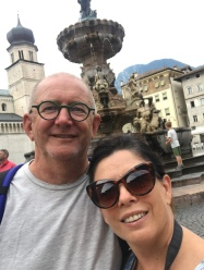 Selfie in the square outside the cathedral in Trento