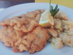 Oberammagau: Golden schnitzel and crushed delicious potato