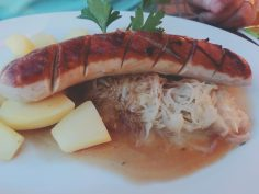 Dinner in Oberammergau, sausage, sauerkraut and boiled potatoe