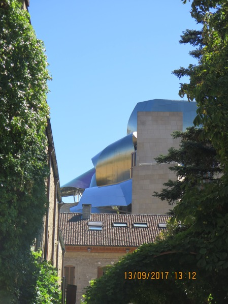 A sneaky glimpse from the driveway, Marqués de Riscal, Rioja
