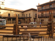 Plaza mayor still has its bull ring up, Albarracín
