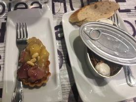Pintxo: Duck pate and apple & a Fedjua ( a type of noodle dish) at Bergara:Gros, San Sebastián