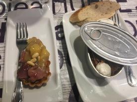 Pintxo: Duck pate and apple & a Fedjua ( a type of noodle dish) at Bergara:Gros, San Sebastián