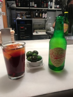 Vermut rioja and sidre dulce, and of course olives