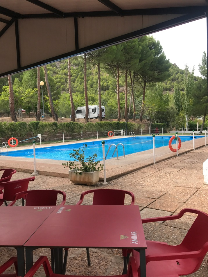Pool side at Nuévalos campsite