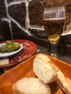 Jamon, cheese a little crusty bread and a cerveza..