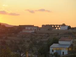 Roman aqueducts at Morella, Spain at sunset