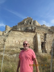 A long way to go, he still looks fresh. castle at Morella Spain