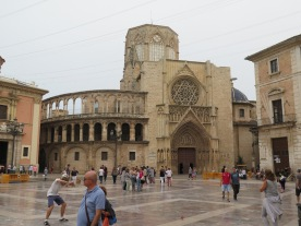 View of the Cathedral, Plaza de la Virgin, Valencia Spain