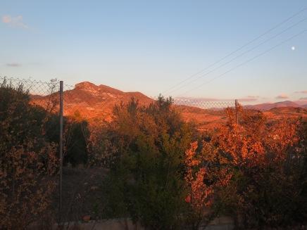 Unbelievable sunsets looking onto the Sierra Nevadas, from Camping Alto Viñuelas de Granada