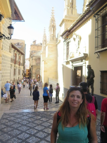 Cobbled streets in the old part, Granada. The cathedral behind me