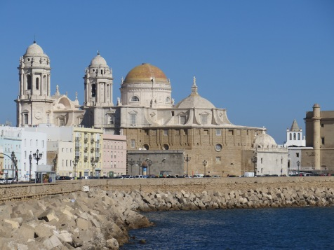 View cathedral of Cádiz from the sea side promenade