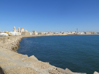 View of Cádiz from the sea side promenade