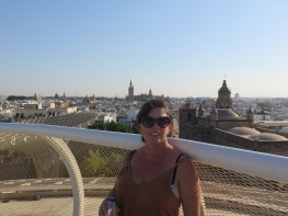 Beautiful Sevilla in the background from Metropol Parasol Sevilla (setas) Spain