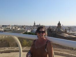 Beautiful Sevilla in the background from Metropol Parasol Sevilla (setas) Spain