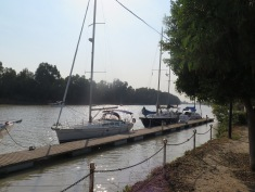 Our camp spot in Puerto Gelves on the Guadalquivir river, Seville