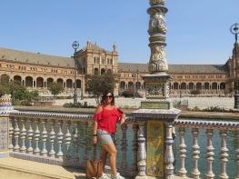 Posing at Plaza de España, Seville