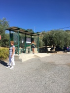 Bus stop outside the Camping Alto Viñuelas de Granada in Beas de Granada