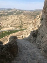 98 steps to the top of the castle courtyard, Morella Spain