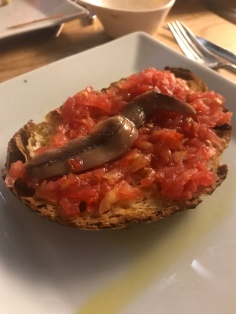 Anchovy on tomato bread, yum