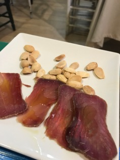 Cured tuna and almonds at Marios