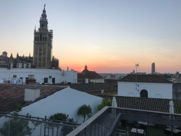 View of the the cathedral from Eurostars Sevilla boutique Hotel roof top