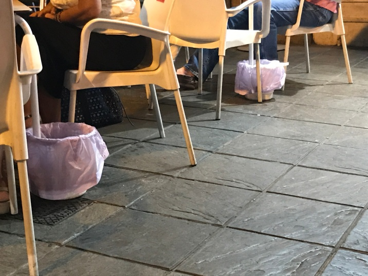 Saw this in all the restaurants in Seville. keeping the streets clean, normally Spaniards throw on the ground as it shows they loved the food but maybe Seville trying to keep clean?