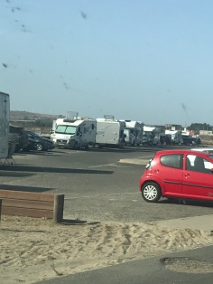 Camper vans along the coast in Portugal