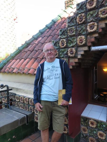Chris , serious look, at El Capricho de Gaudi