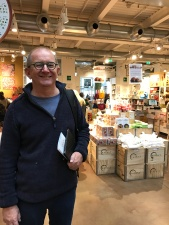 Chris looking very happy at Eataly, Milan