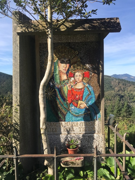 Beautiful mosaic on the side of the road, Basque Country Spain