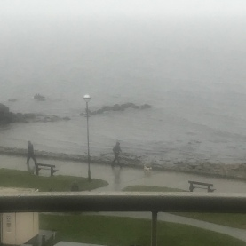 Rain or shine everyone walks. Salthill promenade , Galway