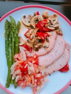 Home made dinner, pork escalopes , asparagus and salad.
