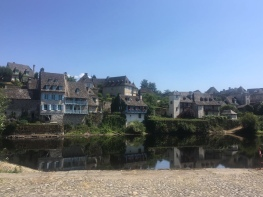 The quay side in Argentat, France