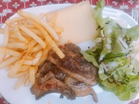Lamb chops and frites in Saint-Bertrand-De-Comminges