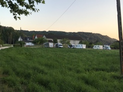 The campers just parked up in the old field, but all neat and tidy in Terrasson-Lavilledieu.