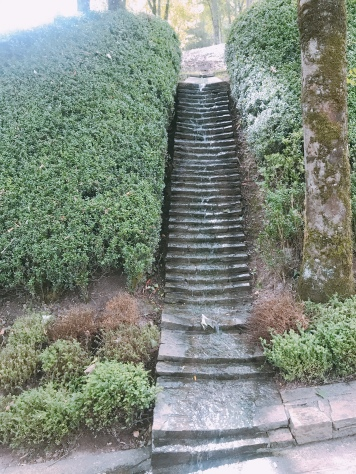"different sizes and the slope of these steps make each one of these water features make a different sound :""Les Jardins de l'Imaginaire""."