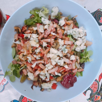 Salad made in our van on a hot summers night in Argentat