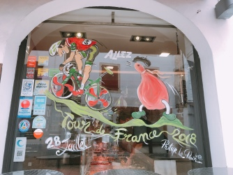 Celebrating the Tour de France in Espelette, France