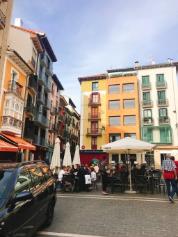 Beautiful shady squares in Pamplona, Spain