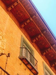Love these Woden carved overhangs in Puente la Reina, Navarra