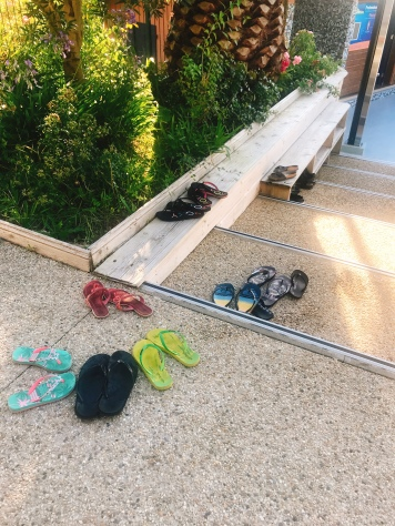 Everyone leaves their shoes outside the pool area, and no one steals them!