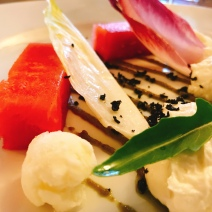 Watermelon salad at the Bass & Lobster