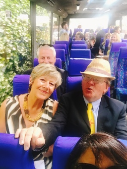 Tom & Angela on the coach...let the party begin